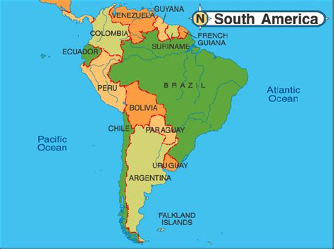 south america map countries only south america