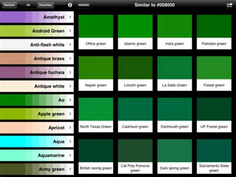 types of green color colors by name pro on the app store