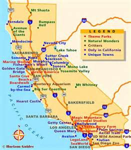 california map with tourist attractions trips san francisco and places on