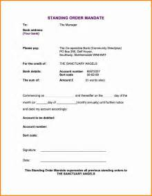 Standing Order Form Template by Mandate Template Minutes Of Meeting Of Directors