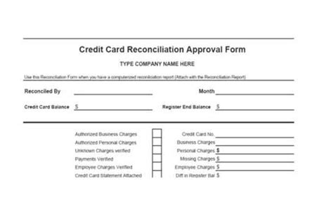 Credit Card Reconciliation Form Template And Banking Controls Vitalics