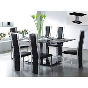 black glass dining room table holly rectangle dining table in black glass with 6 deluxe ch