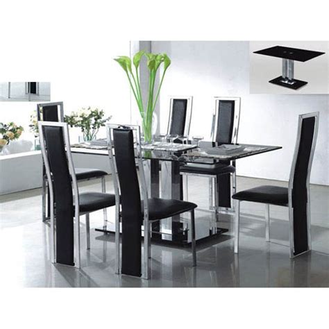 black glass dining room sets holly rectangle dining table in black glass with 6 deluxe ch