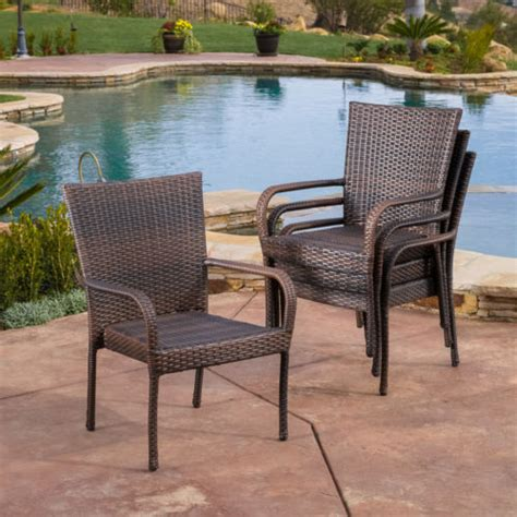 Patio Chair Set Of 4 by Brown Home Outdoor Wicker Stackable Arm Club Chairs Patio
