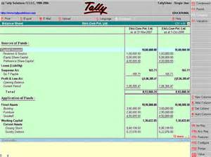 Balance Sheet Format In Tally by Tally 8 1