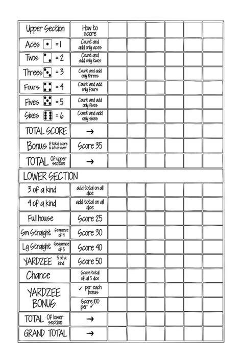 printable  yardzee yahtzee score card file fill