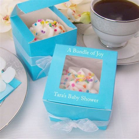 Personalized 3 x 3 Baby Shower Cupcake Favor Boxes with