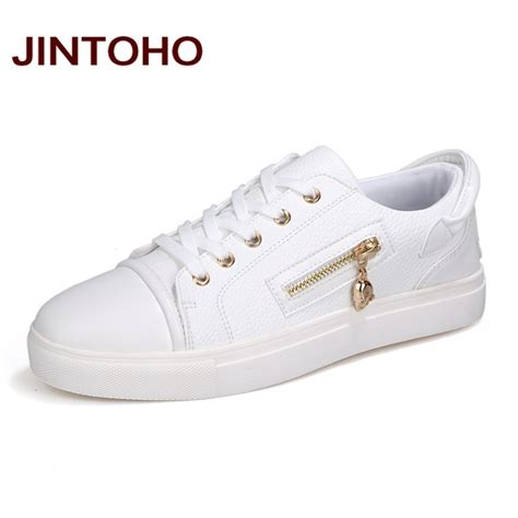 designer sneakers jintoho autumn fashion casual shoes white zip