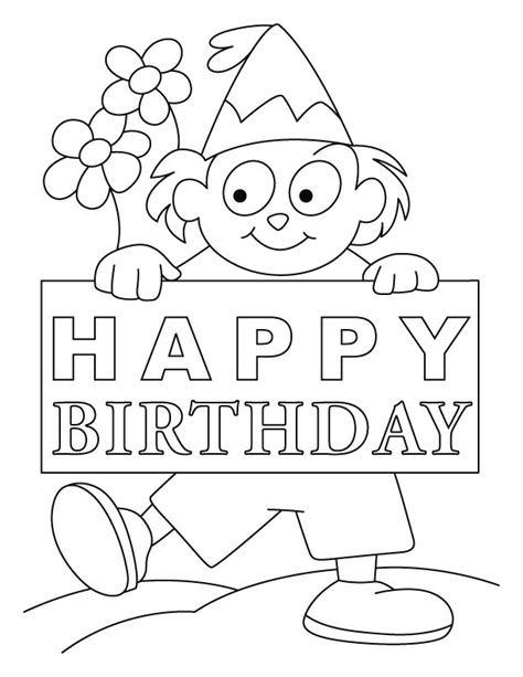 birthday card colouring pages