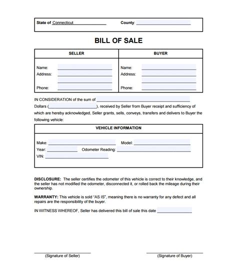 florida boat bill of sale as is no warranty connecticut bill of sale