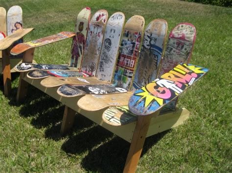 skateboard bench 23 cool ways to repurpose old skateboards