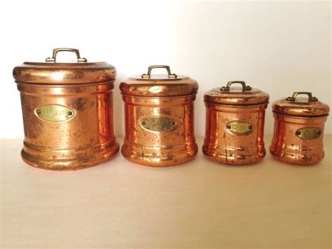 vintage copper and white kitchen canisters ceramic copper industrial vintage retro copper flour sugar coffee tea