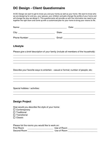 Interior Design Client Questionnaire Templates Dc Design Client Questionnaire Eleven One Interiors Pinterest Interiors Business And