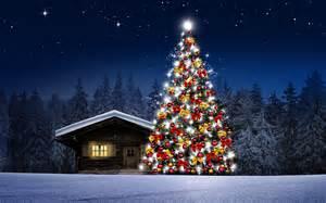 fondo de pantalla arbol de navidad casita noche hd