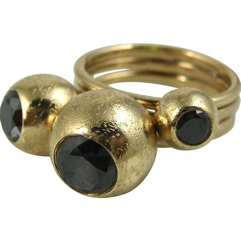 stunning black 14k solid gold modernist three