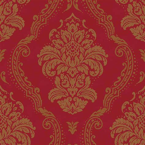 wallpaper large red damask on metallic gold background ebay b m arthouse lucetta damask wallpaper red decorating diy