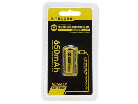Nitecore 16340 Micro Usb Rechargeable Li Ion Battery 650mah Nl1665r nitecore nl1665r 16340 rechargeable li ion battery 650mah