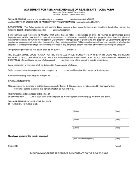 sle purchase agreements 10 best images of real estate purchase agreement form