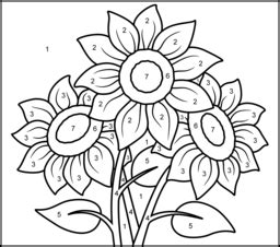 printable color by number flowers flowers coloring pages