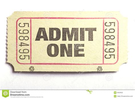 admit one ticket stock photography image 2922622