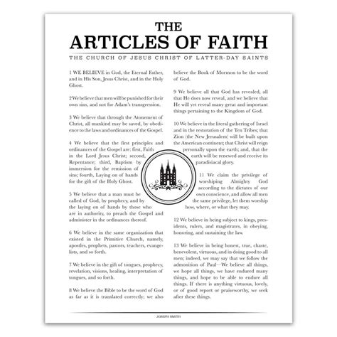 printable articles of faith the articles of faith poster black temple st style