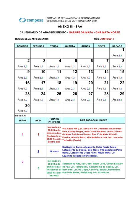 calend 225 de abastecimento de 225 gua nazar 233 da mata junho