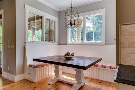 corner banquette bench kitchen with none