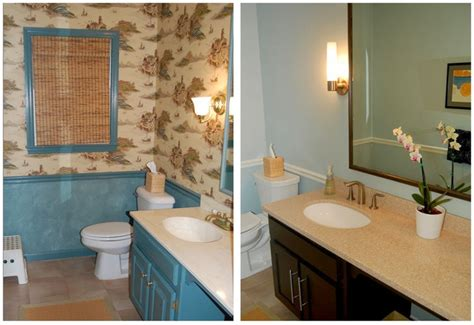 before and after our powder room refresh wall color benjamin woodlawn blue