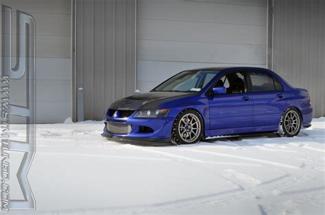 ricer lancer stm ricer looking pretty in the snow evolutionm
