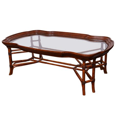 bamboo coffee table large faux bamboo coffee table with glass top at 1stdibs