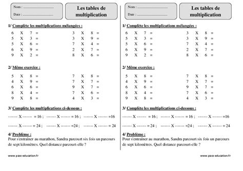 tables de multiplication ce2 exercices 224 imprimer