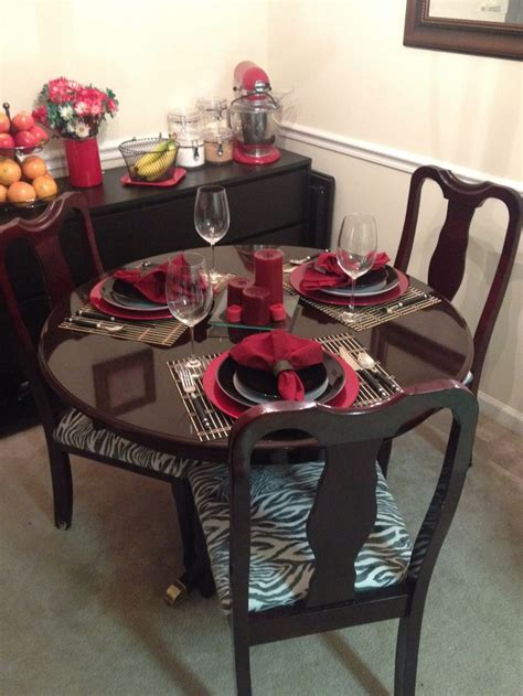 dining room table set up with refurbished table and