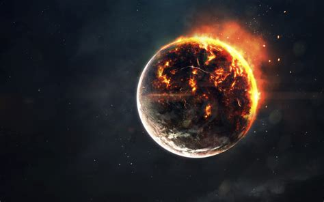 wallpaper planet explosion fire galaxy apocalypse