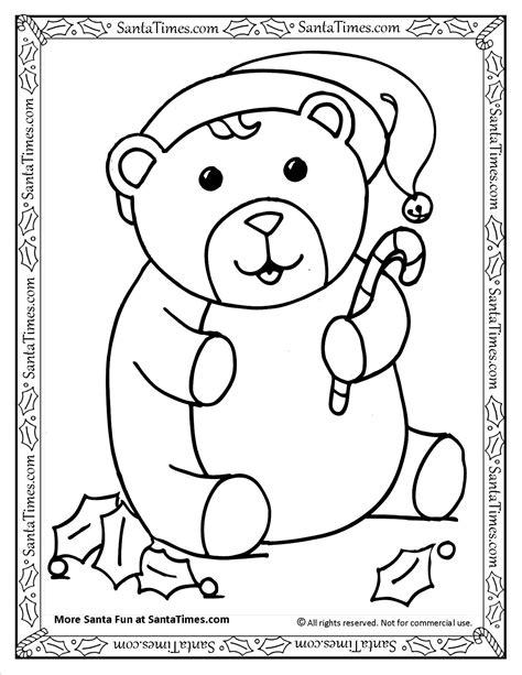 santa bear coloring page christmas bear coloring page