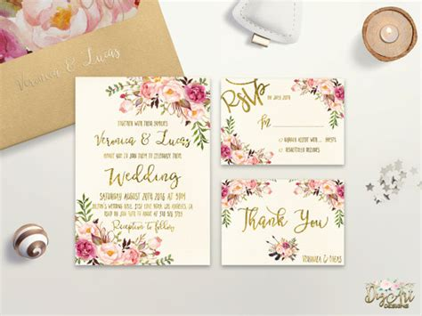 flower design wedding invitation floral wedding invitation printable wedding invitation suite