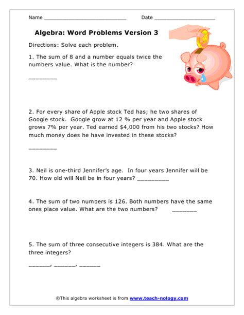 Algebra Coin Word Problems Worksheet by Basic Math Word Problems Worksheets Money Word Problem