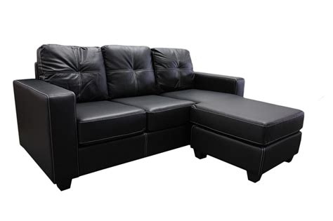 L Shaped Sofa With Chaise Lounge Nowra 3 Seater L Shaped Leather Suite Sofa Lounge W Corner Chaise Black Ebay