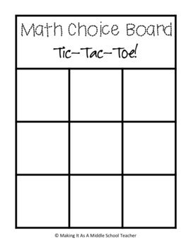 math choice board templates create your own by making it