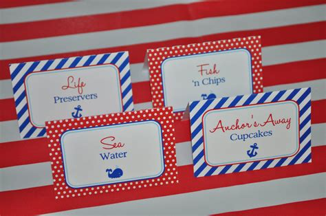 Nautical Food Label Tent Cards Buffet Labels Placecards Buffet Label