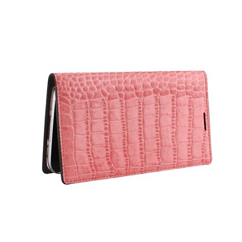 pink leather pattern gaze pink croc pattern leather case for galaxy s5