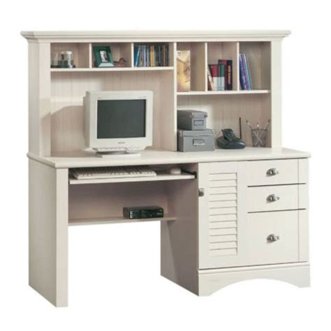 Sauder Harbor View Computer Desk With Hutch Antiqued White Harbor View Computer Desk With Hutch