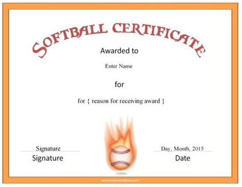 softball certificate templates free printable softball certificates customize