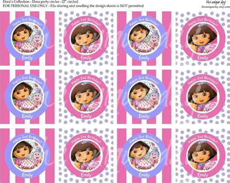 printable dora stickers printable labels or gift tags birthday dora round