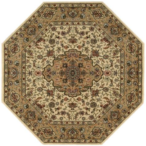 octagonal area rugs nourison arts ivory gold 7 ft 9 in octagon area rug 695741 the home depot