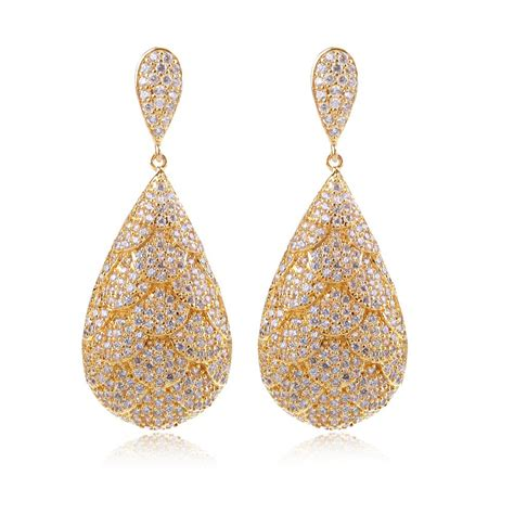 earings desing earrings for women gold plated with cubic zircon luxury