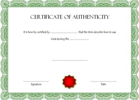 certificate of authenticity autograph template certificate of authenticity template the best template