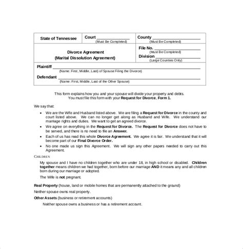 Marriage Dissolution Agreement Template 13 Separation Agreement Templates Free Sle Exle Format Download Free Premium