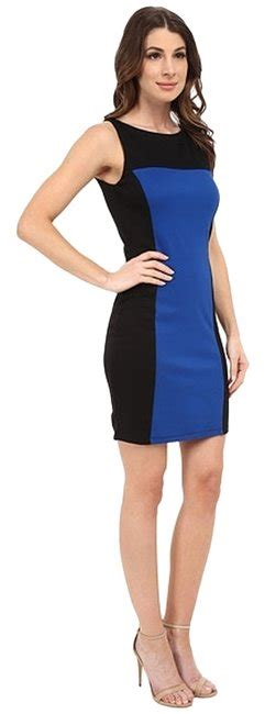 black cobalt blue casual formal work colorblock above knee casual maxi dress size 8 m tradesy