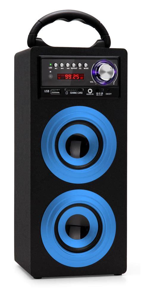 Speaker Power Up Bluetooth beatfoxx beachside portable bluetooth speaker usb sd aux fm blue set incl battery power cord