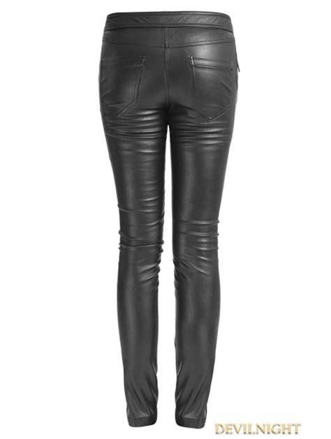 black gothic leather strap pants  women devilnightcouk